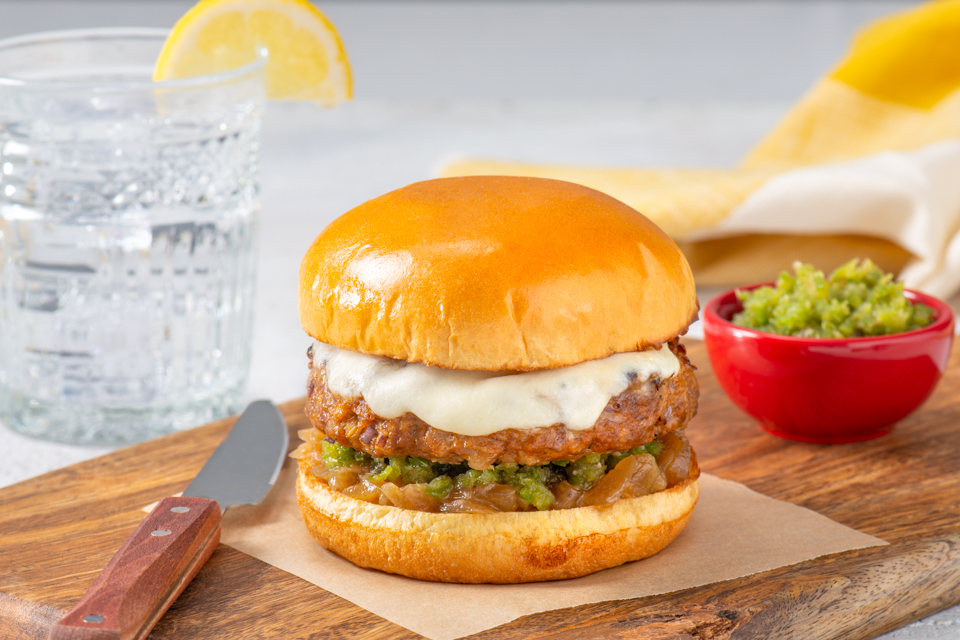Latin Burgers with Caramelized Onions