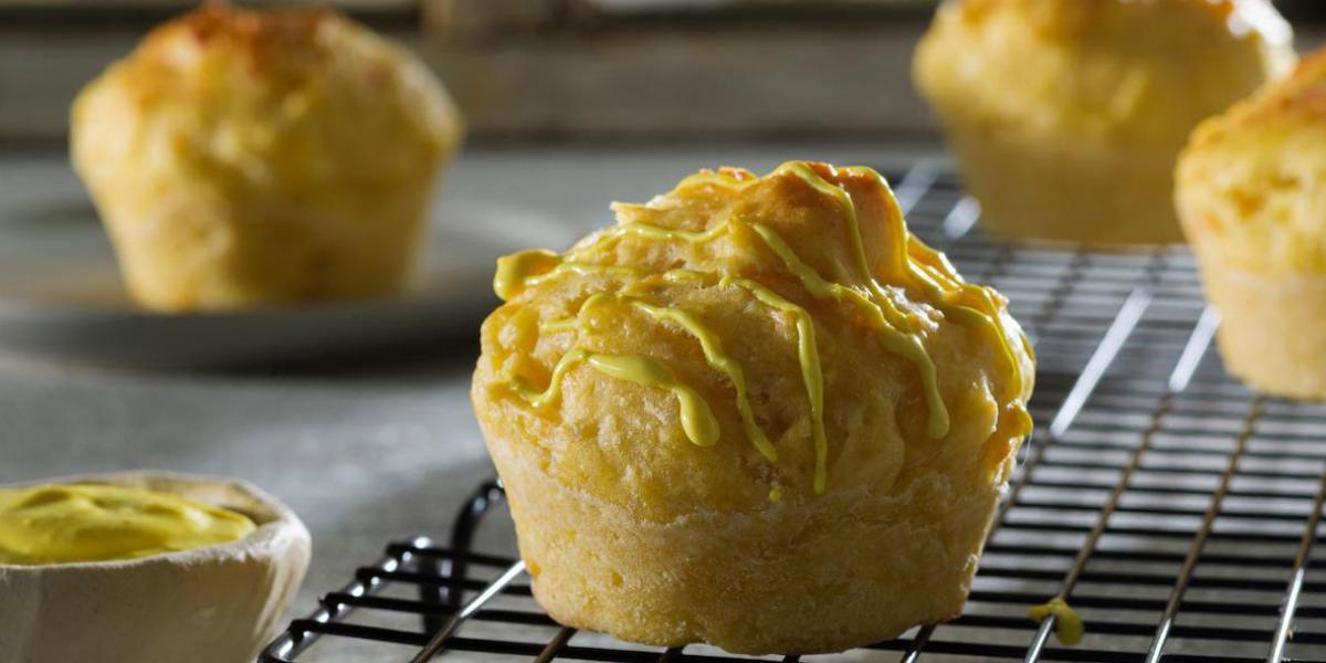 Muffins de queso y mostaza miel