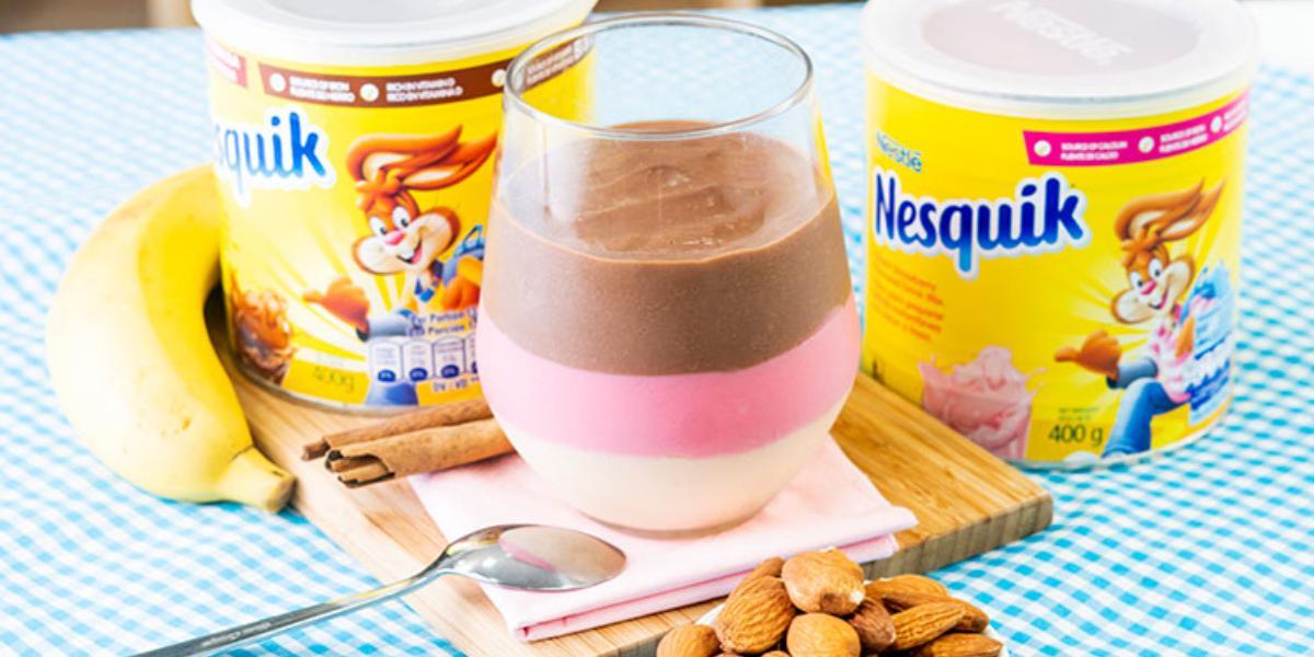 Natilla De Nesquik® Fresa, Nesquik® Chocolate Con Almendras Tostadas