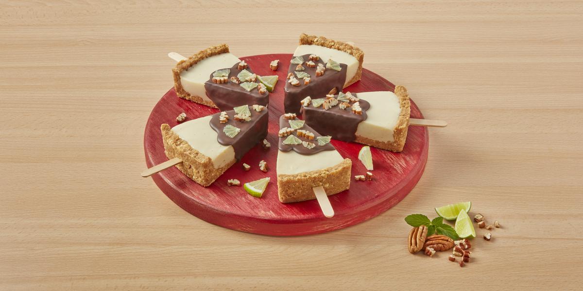Paletas cheesecake de choco menta