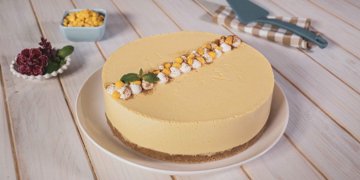Cheesecake de elote con rompope