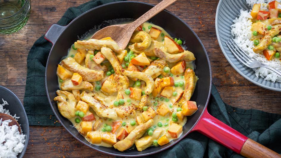 Putengeschnetzeltes mit Kürbis und Curry