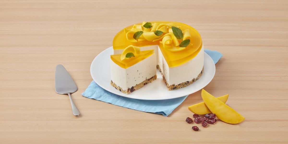 Cheesecake de mango con hierbabuena