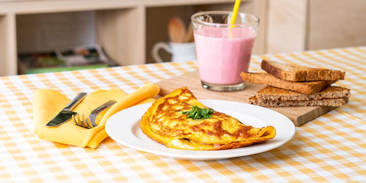 Omelette De Jamón Y Espinaca