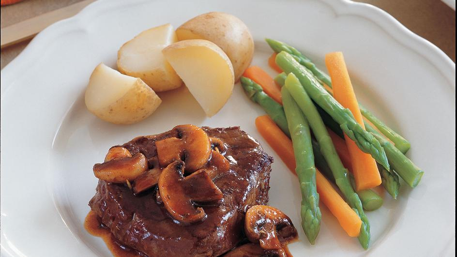 Beef Steak with Mushroom and Herbs Sauce