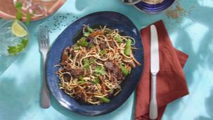 Geroerbakte runderreepjes met Tahini saus