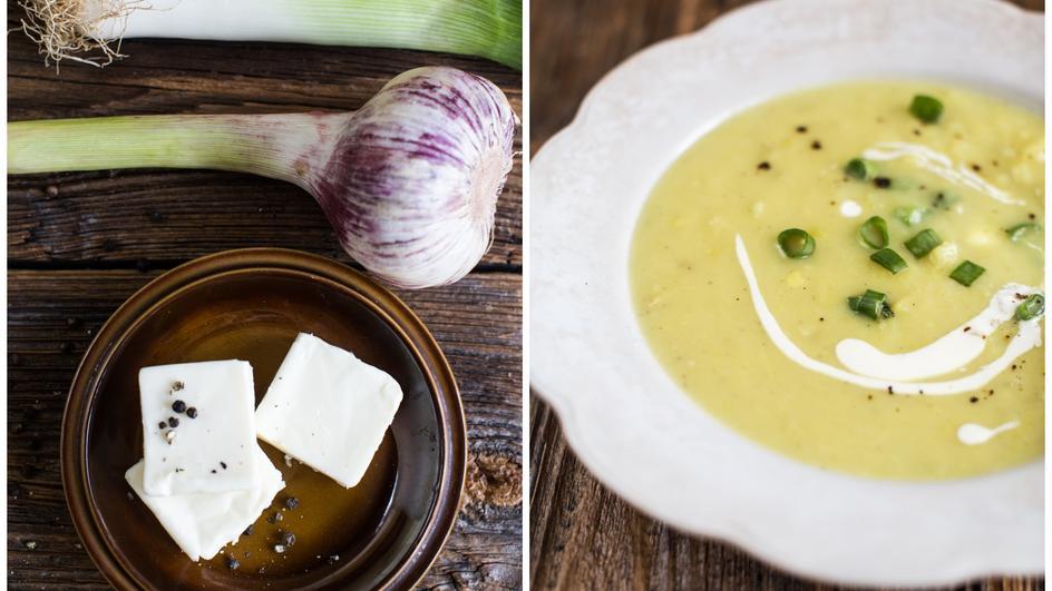 Pożywna zupa porowa z serkiem topionym