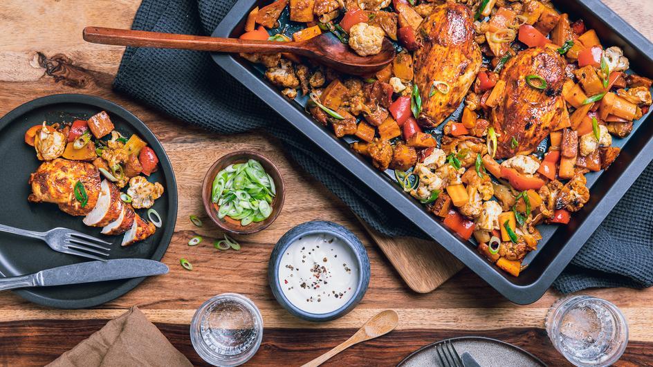 Hähnchen-Gemüse-Curry vom Blech