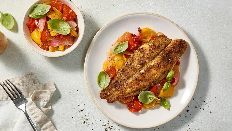 Grilled Fish & Warm Capsicum Salad