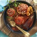 Dolma (gevulde paprika's, aubergine, en tomaten)