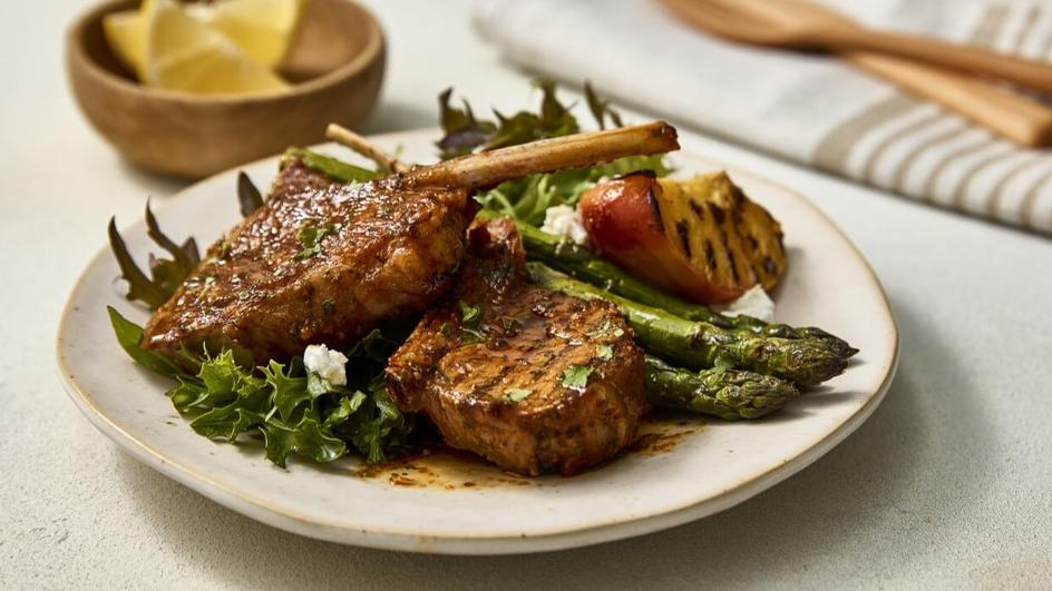 Grilled Lamb Cutlets With Grilled Peach Salad